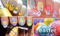 Happy Easter Nails Beautylish Swatch And Learn Easter Nail Designs, Easter Nail Art, Holiday Nail Designs, Holiday Nail Art, Cool Nail Designs, Cute Nail Art, Cute Nails, Seasonal Nails, Finger Nail Art