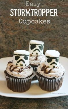 May the fork be with you -- so you can dig into these Star Wars party foods.: Stormtrooper CupcakesLight Saber PretzelsLuke SkywaterYoda Soda and Vader AdeJabba the Pizza HutCarbonite JelloWookie CookiesPrincess Leia Cupcales