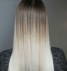 Stick-Straight Long Dark-Blonde Hair with Creamy Platinum-Blonde Balayage