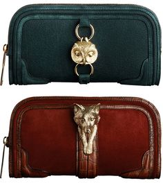 Burberry Autumn/Winter 2012 collection featuring whimsical animal buckles in gold adorning the clutches and shoulder bags