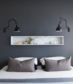 overbed shelf and lights