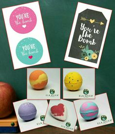 You're the Bomb. Teacher appreciation gifts or Mother's day gifts. Printable tag. Elk River Soap Company bath bombs.
