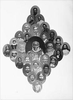 Assemblage of carte de visite Maori portraits taken over the period by Samuel Carnell of Napier, composed for advertising purposes. Treaty Of Waitangi, Maori Legends, Polynesian People, New Zealand Adventure, Maori People, Maori Art, Interesting History, Pilgrimage, 19th Century