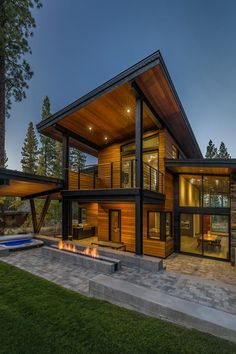 Prefabricated Tahoe mountain home secluded in beautiful pine forest is part of House design - This prefabricated mountain home was designed by architecture studio Sagemodern, located in the Martis Camp community of Truckee, California Casas Containers, Modern Mountain Home, Container House Design, Container House Plans, Container Houses, Prefab Homes, Prefabricated Home, Modern House Design, Wood House Design