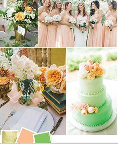 gold peach and green wedding ideas