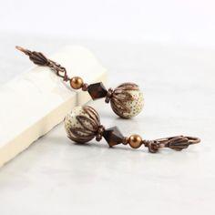 Brown Earrings Mocha Latte Crystal Cream by AbacusBeadCreations, $22.00