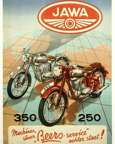 Vintage Motoring Art Poster- Jawa 350 & 250 0001 - My old classic car collection Bike Poster, Motorcycle Posters, Motorcycle Art, Bike Art, Enfield Motorcycle, Women Motorcycle, Enduro Vintage, Motos Vintage, Vintage Bikes