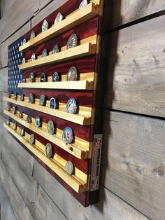 Wood Pallet Projects All handmade with individually cut pieces nailed to a sturdy frame, stained with red Challenge Coin Holder, Challenge Coin Display, Wood Projects For Beginners, Easy Wood Projects, Outdoor Projects, House Projects, Pallet Projects, Woodworking Plans, Woodworking Projects