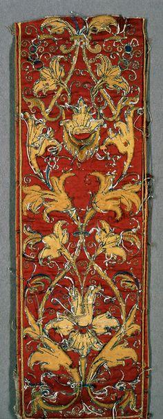 Spain. Fragments, 16th century Medium: silk and metal thread Technique: appliqué. Bequest of Marian Hague. 1971-50-39-a.