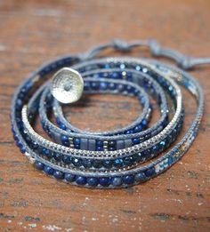 So Rock Lapis beaded mix Wrap bracelet Boho bracelet