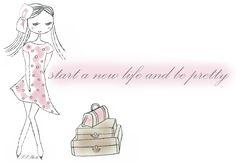 pink, girl, new, life, pretty, dress, draw, lugagge, happy, love