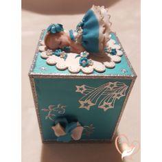 7-Tirelire bébé fille turquoise et blanche - au coeur des arts