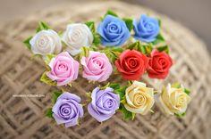 Roses stud earrings Flower studs Handmade fimo earrings