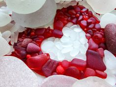 RED SEA GLASS HEART, <3