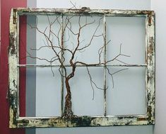 tree-of-life-sculpture-in-vintage-antique-window-barnwood-farmhouse-rustic-boho-celtic-traditional-style/ - The world's most private search engine Antique Windows, Vintage Windows, Old Windows, Antique Window Frames, Sliding Windows, Sash Windows, Window Frame Art, Old Window Screens, Window Wall Decor