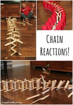 Awesome chain reactions to build with craft sticks Stem Projects, Science Projects, Projects For Kids, Crafts For Kids, Preschool Science, Science For Kids, Games For Kids, Science Fun, Preschool Ideas