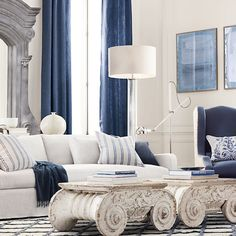 artnouveaugr:    (via Art nouveau) love the navy w white and tops of pillars as coffee tables ~cp