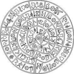 The Minoan Phaistos Disc series contains 47 unique characters based on the… Ancient Mysteries, Ancient Artifacts, Minoan Art, Bronze Age Civilization, Mycenaean, Clock Art, Sacred Art, Ancient Greece, Glyphs