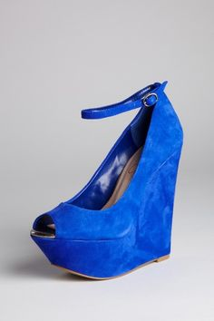 JS Marcie Peep Toe Wedge. Love the blue!