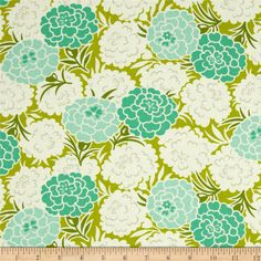 Heather Bailey Up Parasol Mum Toss Chartreuse from @fabricdotcom  Designed by Heather Bailey for Free Spirit, this cotton print is perfect for quilting, apparel and home decor accents.  Colors include off white, aqua, mint, olive and lime.