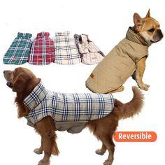 2015 водонепроницаемой обратимым собака дизайнер теплая плед зимний собак пальто одежда для животных эластичный мала до велика одежда для собак зима купить на AliExpress