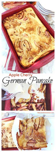 Apple Cherry German Pancake Recipe at ReluctantEntertainer.com