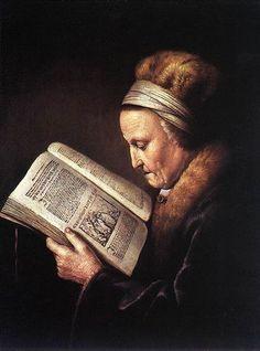 Gerald Dou, Portrait of an Old Woman Reading, c.1630-1635
