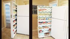 If you have a little space between your fridge and the retaining wall next to it, or any space about six inches wide in your kitchen, this DIY roll-out pantry can hold a ton of canned goods and other non-perishables, roll out when you need it, and slide easily back into place when you're finished.