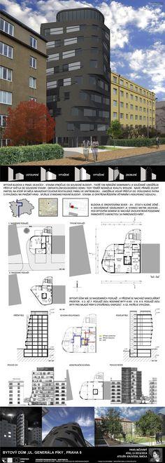 Studentský projekt. LS 2013/2014. FSv ČVUT v Praze. Residential Architecture, Multi Story Building, Floor Plans, Tower, How To Plan, Arquitetura, Atelier, Rook, Lathe