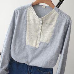 Корейский литературный стиль воротник нерегулярные шить свежий удобный хлопок сплошной цвет модели делятся полосатые рубашки - Taobao