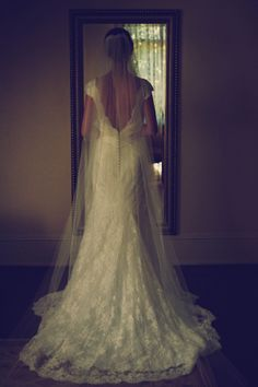 Bridal Gown | Chapel Length Veil | Open Back Wedding Dress | Betty Donne Photography