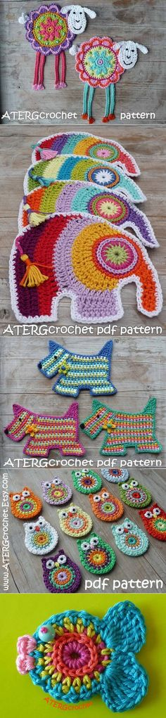 Crochet Patterns Animals colourful, scrap take on animal shapes, great for appliques on a plain blanket Crochet Gratis, Cute Crochet, Crochet Motif, Crochet Stitches, Knitting Patterns, Crochet Patterns, Crochet Potholders, Crochet Home, Crochet Accessories