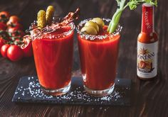 Brunching in this weekend? Make this Spicy Bloody Mary using Sontava Habanero Extra Hot Sauce! Pickled Asparagus, Asparagus Spears, Pickled Green Beans, Bloody Mary Recipes, Tomato Juice, Lime Wedge, Hot Sauce Bottles, Food Network Recipes, Spicy