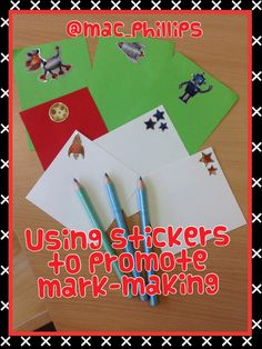 Open-ended mark-making resources- stickers and coloured paper/card Writing Area, Writing Table, Pre Writing, English Writing, Early Years Teaching, Early Years Classroom, Creative Area, Creative Class, Eyfs Curriculum