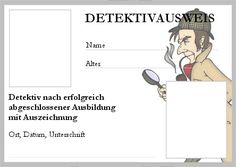 Detektivausweis ausdrucken Aries Birthday, Happy Birthday, Birthday Parties, Learn German, Christmas Party Invitations, Best Friends Forever, Free Prints, Sunday School, Detective