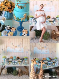 """""""Baby Shower Safari. Chá de bebê Safari,"""" the Victoria's Secret model, 27, Instagrammed the image of the dessert table, which featured a blue cake and cupcakes with icing animals decorated on them. As well, there were pretty orange flowers in blue vases. While rocking a white strapless mini dress for the special occasion, the model might have revealed her son's name."""