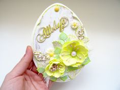 Easter egg handmade scrapbooking card with foamiran flowers Easter Eggs, Scrapbooking, Brooch, Flowers, Cards, Handmade, Jewelry, Brooch Pin, Hand Made