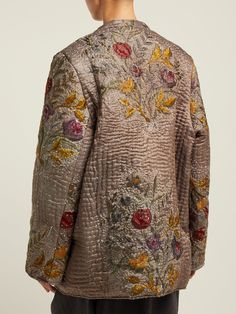Samia embroidered 19th century-silk jacket | By Walid | MATCHESFASHION.COM AU Quilted Clothes, Embroidered Clothes, Embroidered Jacket, By Walid, Fibre And Fabric, Silk Jacket, Chinese Clothing, Dress Backs, Fashion Outfits