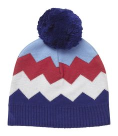 Baby Bobble Hat - Boys Chevron - available in one size (0-12 months)  - RRP £14.00