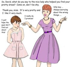 David's cotton candy striped dress (blond version) by Daphnesecretgarden on DeviantArt Petticoated Boys, Sissy Boys, Mother Knows Best, Prissy Sissy, Feminized Boys, My Step Mom, Fembois, Cartoon Boy, Sissy Maid