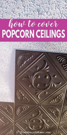 These DIY home decor ideas for covering a popcorn ceiling are AWESOME! I love these ideas! Now I know how to update the room decor in my house. #fromhousetohome #homedecorideas #roomdecor #ceilings #decoratingtips #diydecorating Faux Tin Ceiling Tiles, Fabric Ceiling, Ceiling Decor, Covering Popcorn Ceiling, Removing Popcorn Ceiling, Diy On A Budget, Decorating On A Budget, Installing Curtain Rods, Diy Home Decor Projects