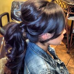 chic ponytail possible bridesmaid hairdo Weave Hairstyles, Pretty Hairstyles, Style Hairstyle, Curly Hair Styles, Natural Hair Styles, Locks, Hair Heaven, Great Hair, Bridesmaid Hair