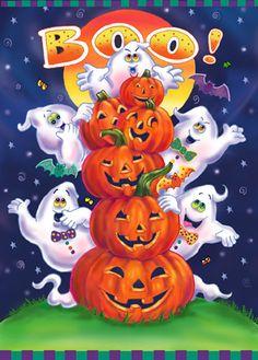 Happy Halloween by Janet Skiles Halloween Cartoons, Halloween Kunst, Fröhliches Halloween, Halloween Artwork, Easy Halloween Crafts, Halloween Clipart, Halloween Prints, Halloween Painting, Halloween Books