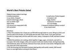 Jim Bob and Mae Recipe of the Day   World's Best Potato Salad   http://www.dailyrecipedoctor.com