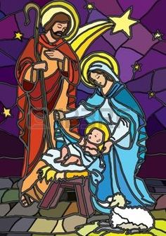 christmas card christian: Vector illustration of the holy family of the nativity or birth of Jesus created as stained glass  Illustration