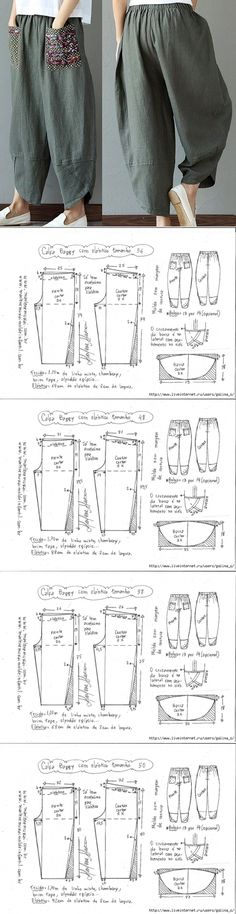 Baggy trousers with an elastic band // Наталия Москалёва Fashion Sewing, Diy Fashion, Ideias Fashion, Dress Sewing Patterns, Clothing Patterns, Sewing Clothes, Diy Clothes, Sewing Hacks, Sewing Tutorials