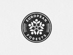 European Forests, by Gert van Duinen Badge Design, Logo Design Template, Typography Logo, Typography Design, Circular Logo, Hipster Logo, Leaf Logo, Badge Logo, Round Logo