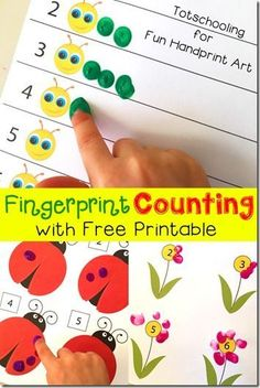 Fingerprint Counting Activities - so many fun hands on ways for preschool, prek, kindergarten age kids to practice counting Preschool Lessons, Preschool Classroom, Classroom Activities, Preschool Crafts, Preschool Printables, Learning Numbers Preschool, Free Printables, Teaching Numbers, Montessori Elementary
