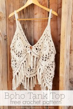 Boho Tank Top Crochet Pattern - I love this fun, funky, fring-y Crochet Boho Tank Top Pattern! It's super cute layered with long necklaces over a sundress. Another beautiful free Crochet & yarn craft from hookedonhomadehappiness!  ♥️ShesChasingZen