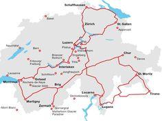 Landkarte der Schweiz - Natur + Städte